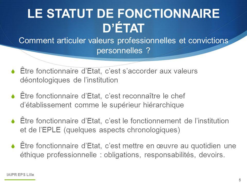 LE STATUT DE FONCTIONNAIRE D'ÉTAT Comment articuler valeurs professionnelles et convictions personnelles