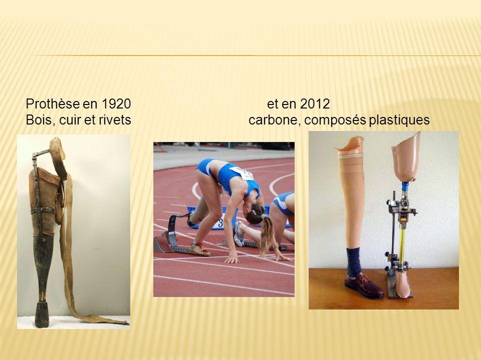 Prothèse en 1920 et en 2012 Bois, cuir et rivets carbone, composés plastiques.