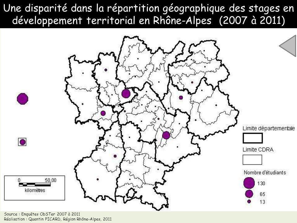 Une disparité dans la répartition géographique des stages en développement territorial en Rhône-Alpes (2007 à 2011)