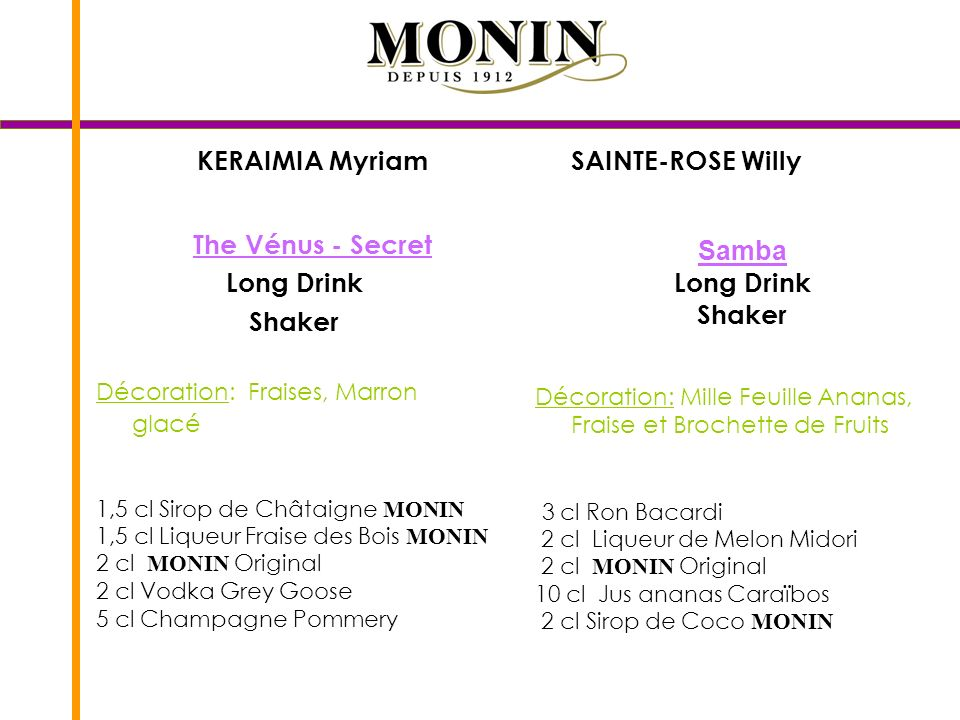 KERAIMIA Myriam SAINTE-ROSE Willy The Vénus - Secret Long Drink Shaker