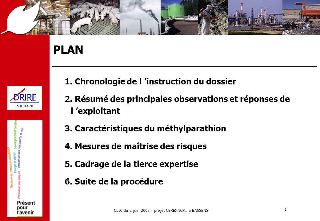 PLAN 1. Chronologie de l 'instruction du dossier