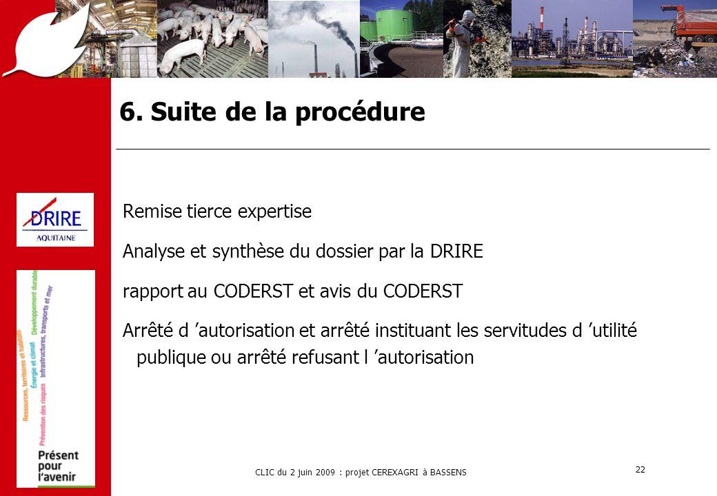 6. Suite de la procédure Remise tierce expertise