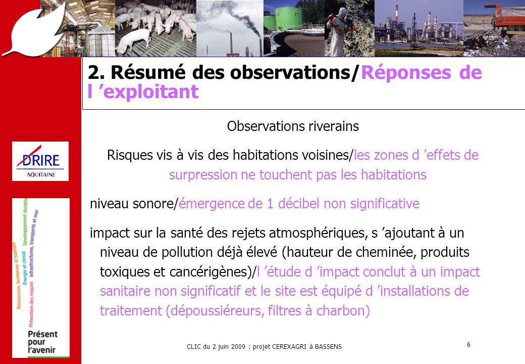 2. Résumé des observations/Réponses de l 'exploitant