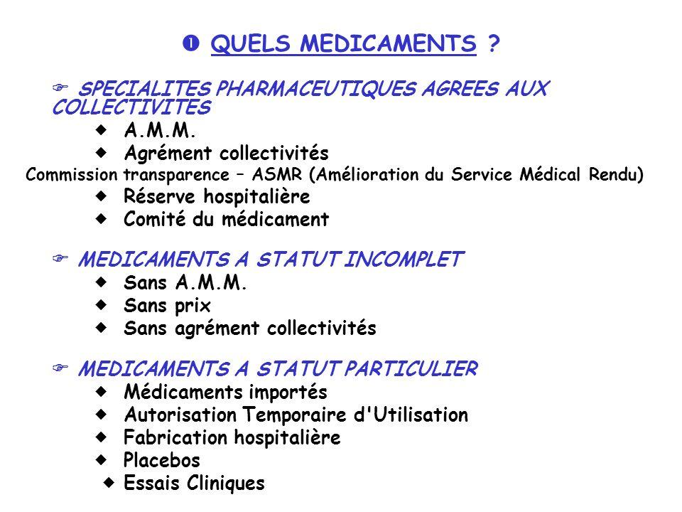  QUELS MEDICAMENTS  A.M.M.  Agrément collectivités