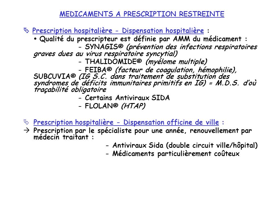 MEDICAMENTS A PRESCRIPTION RESTREINTE