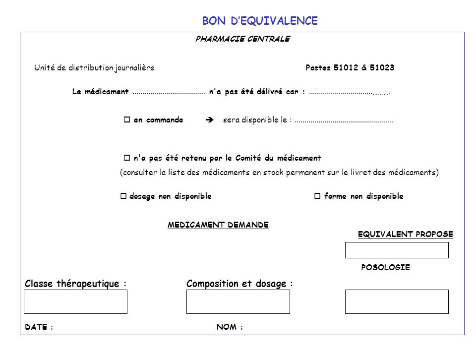 BON D'EQUIVALENCE Classe thérapeutique : Composition et dosage :