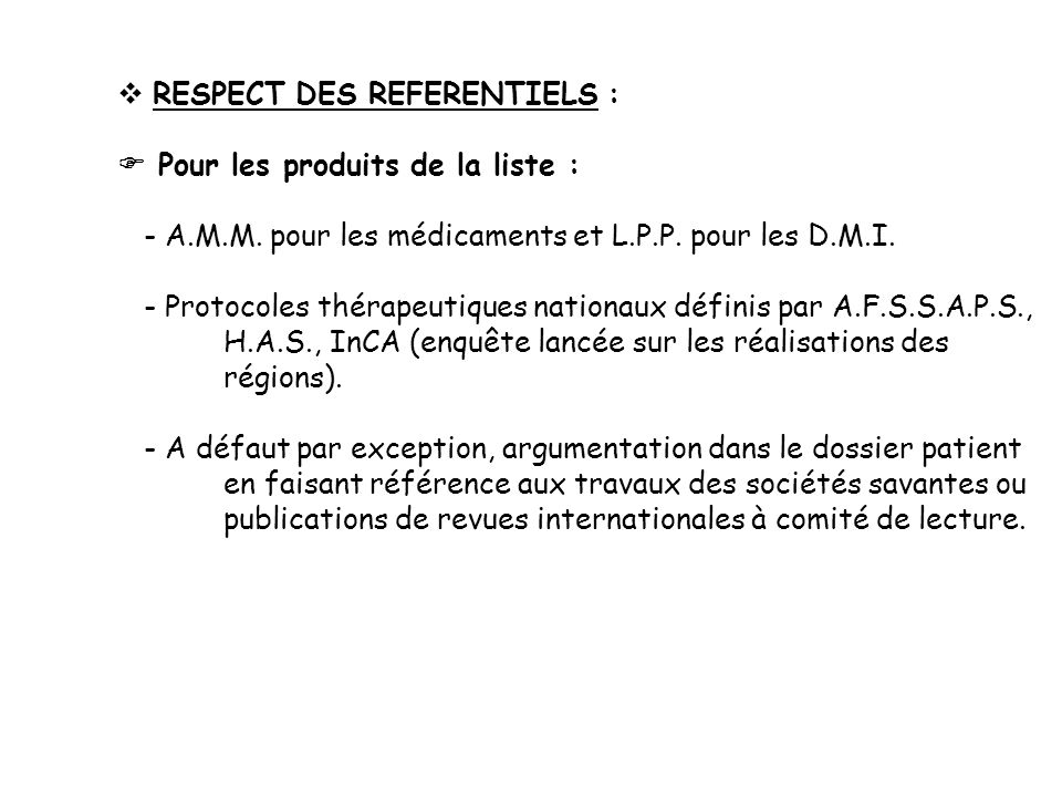 RESPECT DES REFERENTIELS :