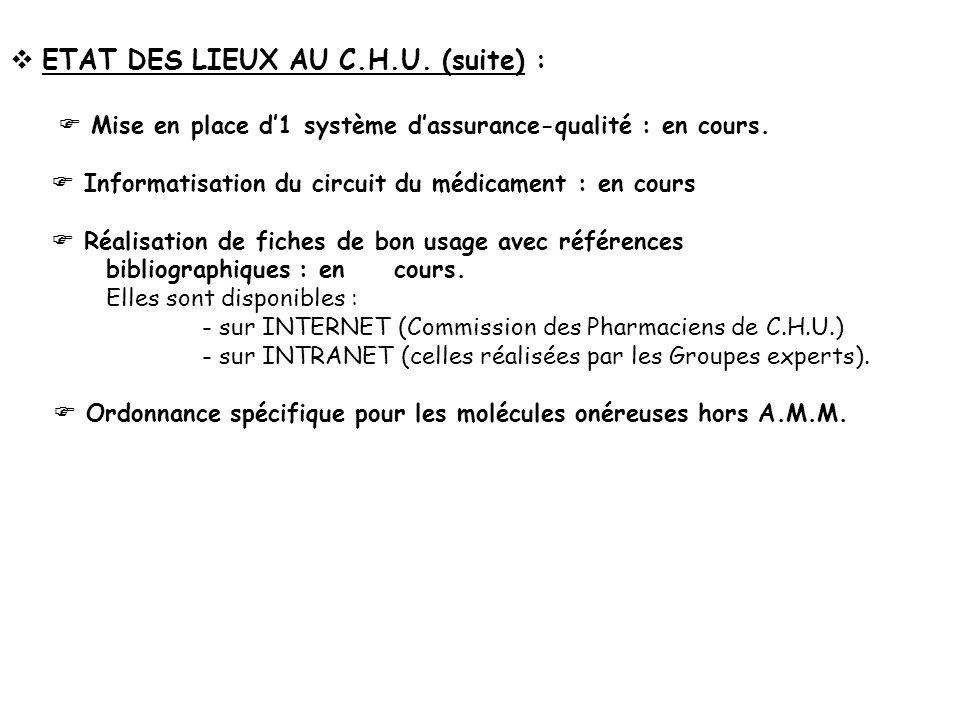 ETAT DES LIEUX AU C.H.U. (suite) :