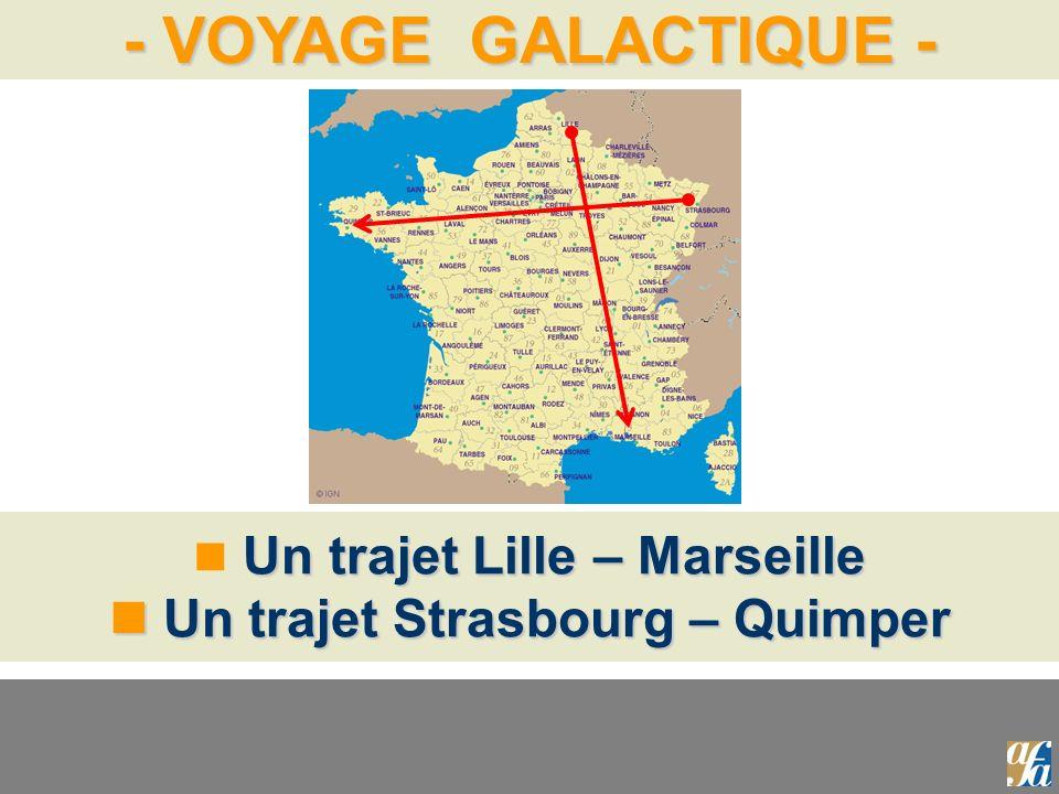 Un trajet Lille – Marseille  Un trajet Strasbourg – Quimper