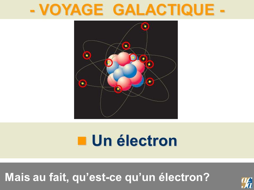 Un électron Mais au fait, qu'est-ce qu'un électron