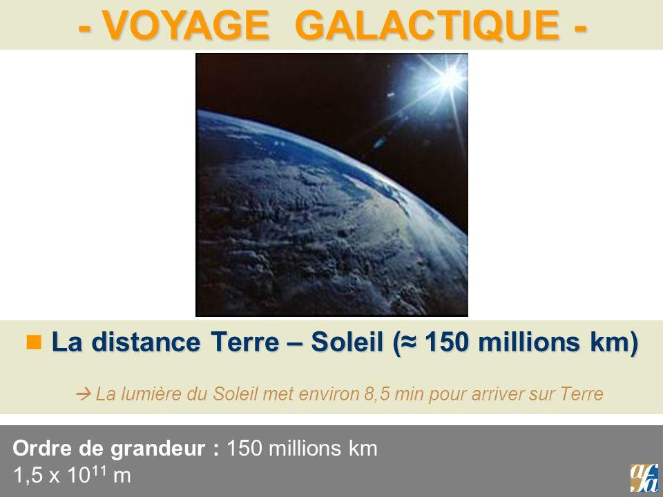 Ordre de grandeur : 150 millions km 1,5 x 1011 m