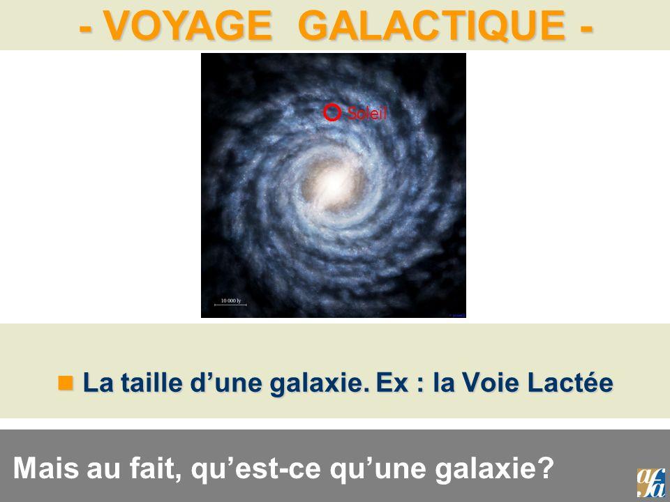 La taille d'une galaxie. Ex : la Voie Lactée