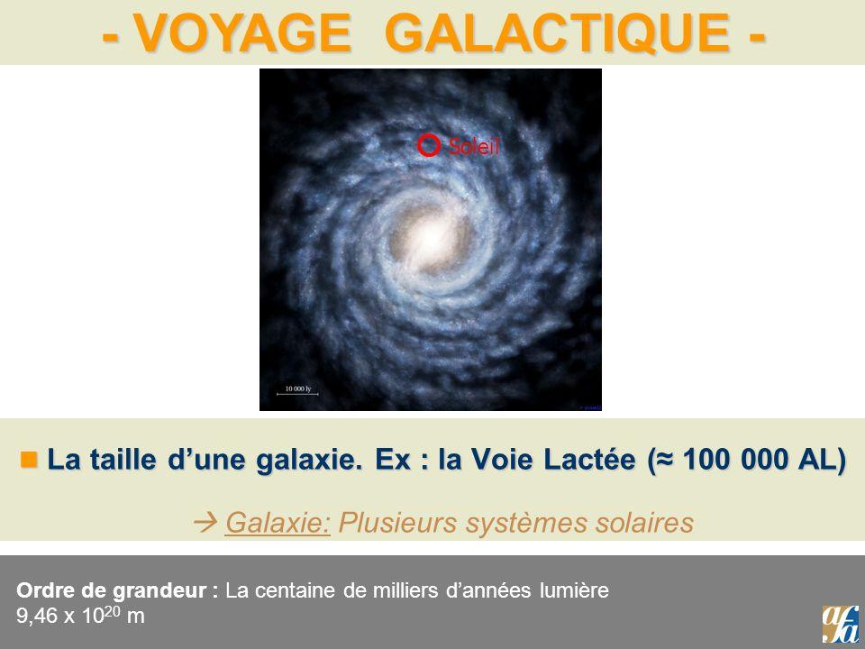 Soleil La taille d'une galaxie. Ex : la Voie Lactée (≈ 100 000 AL)  Galaxie: Plusieurs systèmes solaires.