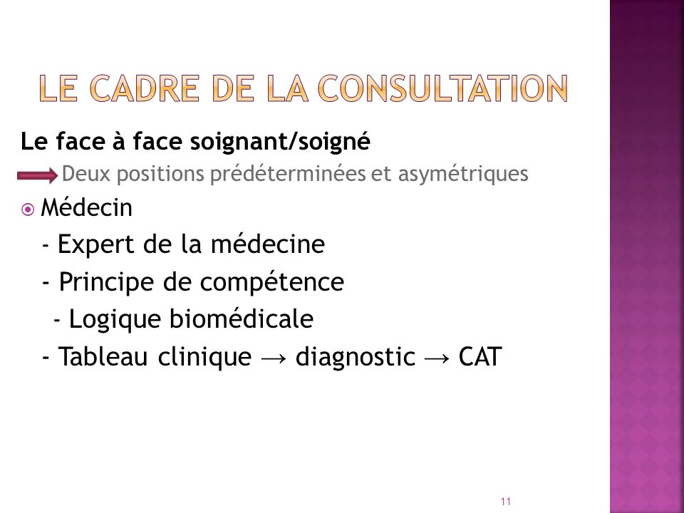 Le cadre de la consultation