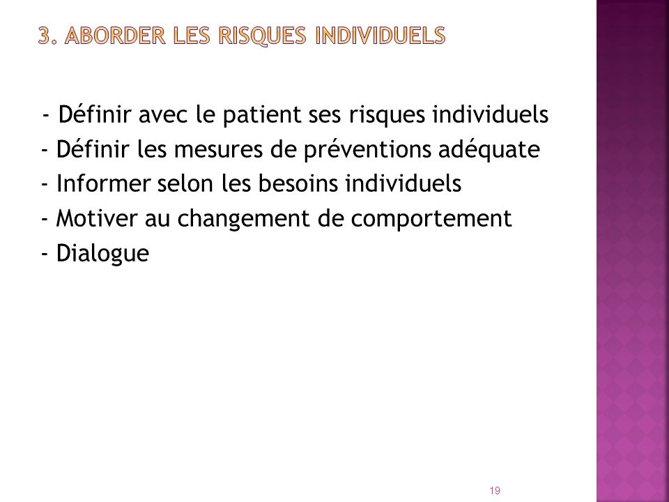 3. Aborder les risques individuels