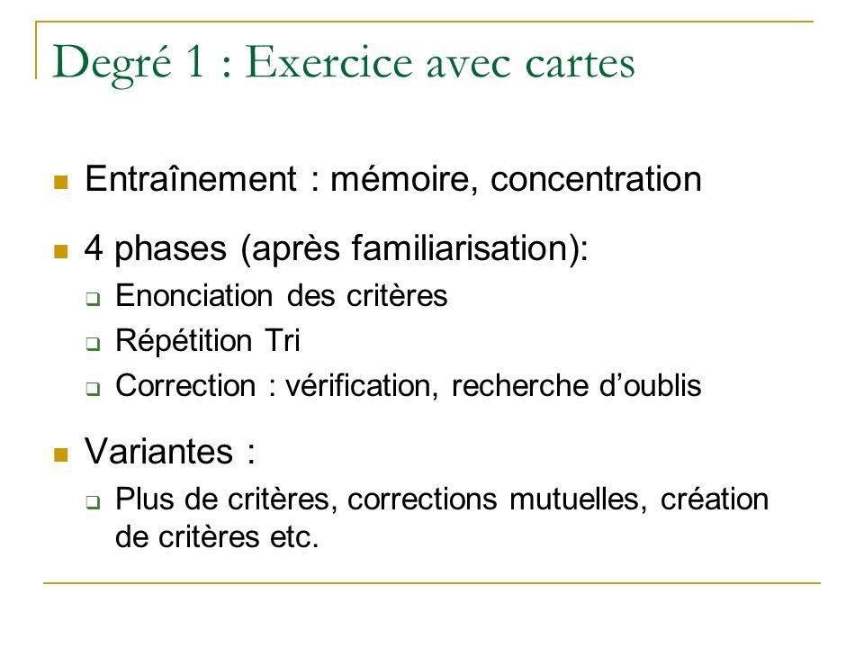 Degré 1 : Exercice avec cartes