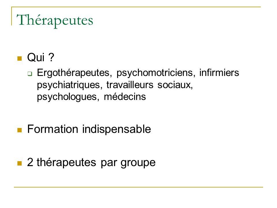 Thérapeutes Qui Formation indispensable 2 thérapeutes par groupe