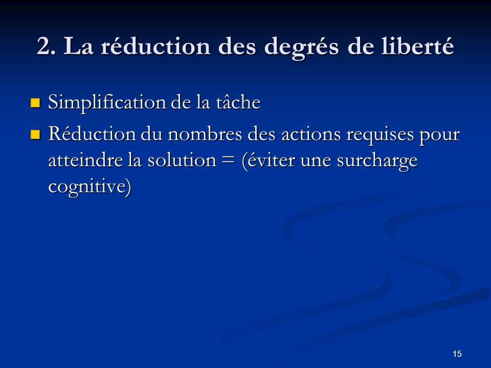 2. La réduction des degrés de liberté