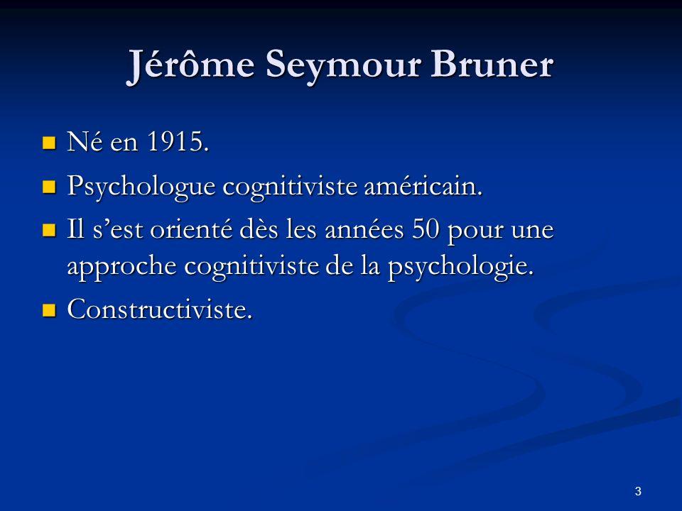 Jérôme Seymour Bruner Né en 1915. Psychologue cognitiviste américain.