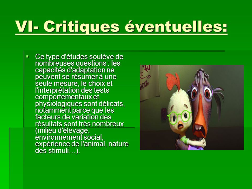 VI- Critiques éventuelles: