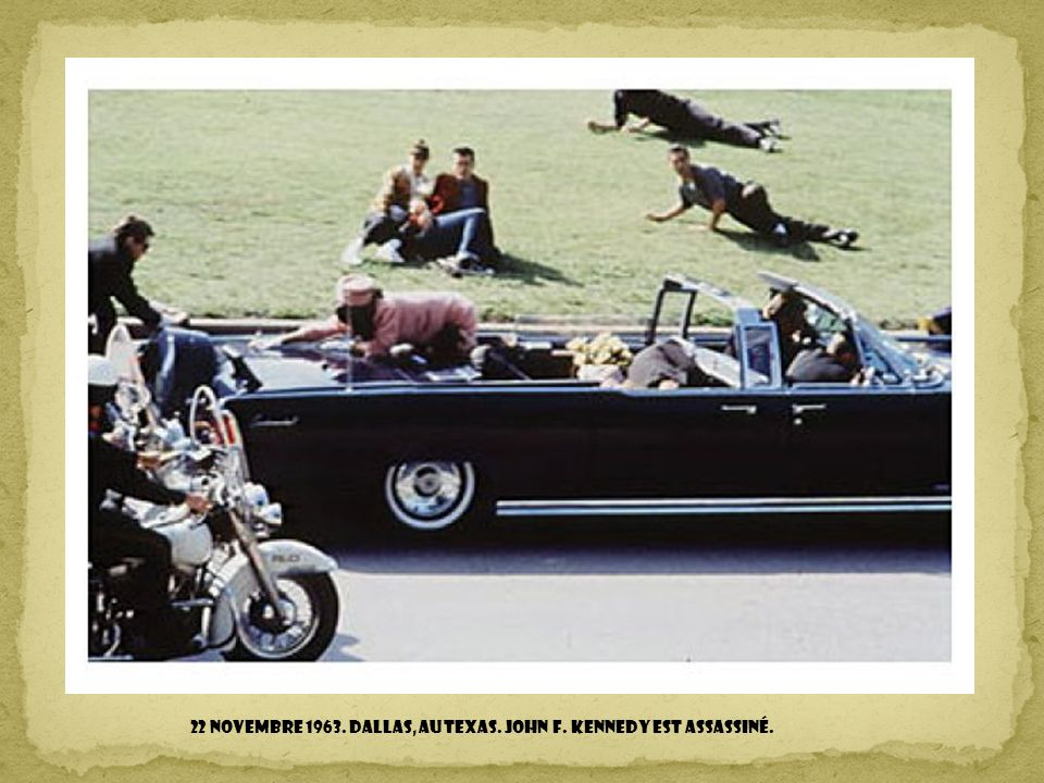 22 novembre 1963. Dallas, au Texas. John F. Kennedy est assassiné.