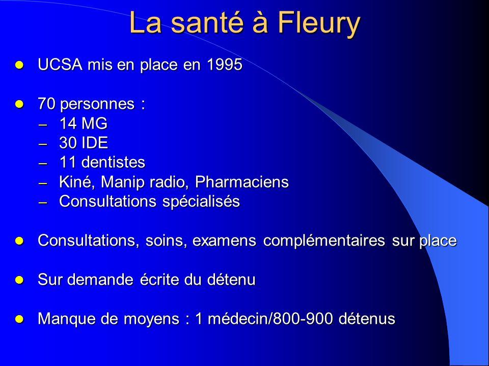 La santé à Fleury UCSA mis en place en 1995 70 personnes : 14 MG