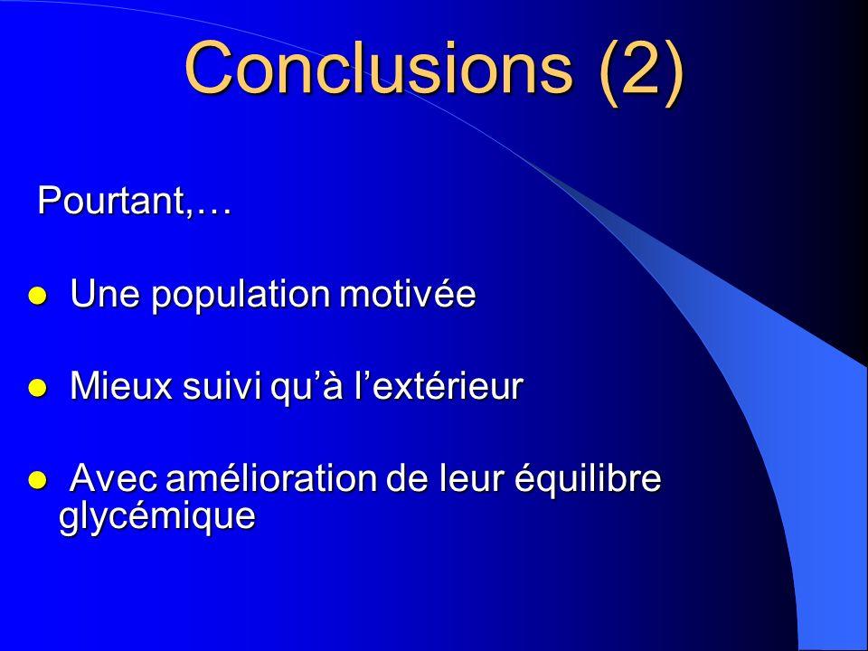 Conclusions (2) Pourtant,… Une population motivée