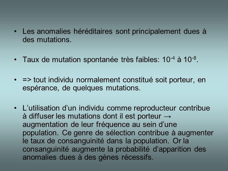 Les anomalies héréditaires sont principalement dues à des mutations.