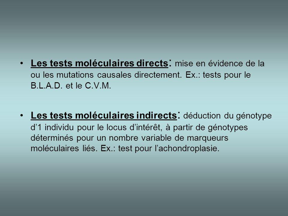 Les tests moléculaires directs: mise en évidence de la ou les mutations causales directement. Ex.: tests pour le B.L.A.D. et le C.V.M.