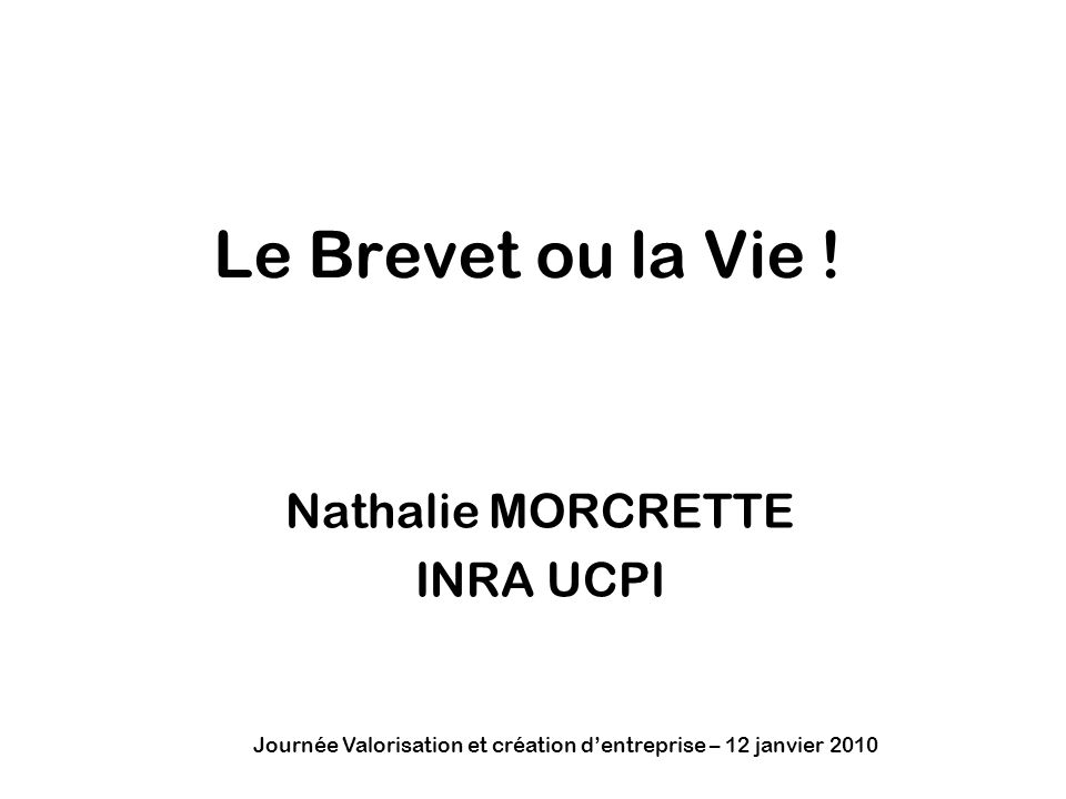 Nathalie MORCRETTE INRA UCPI