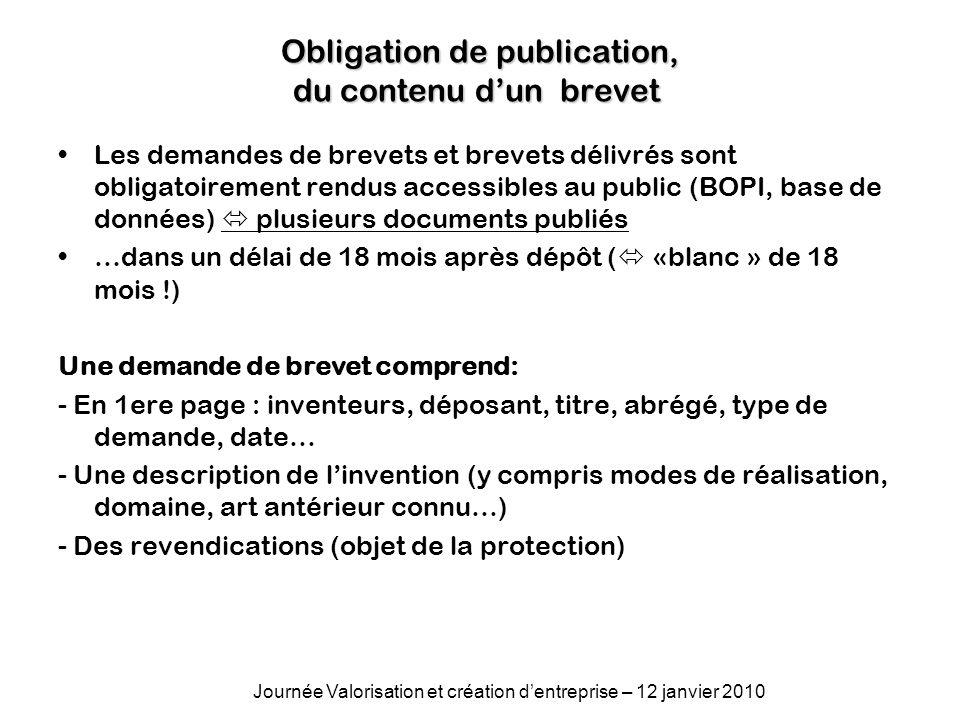 Obligation de publication, du contenu d'un brevet