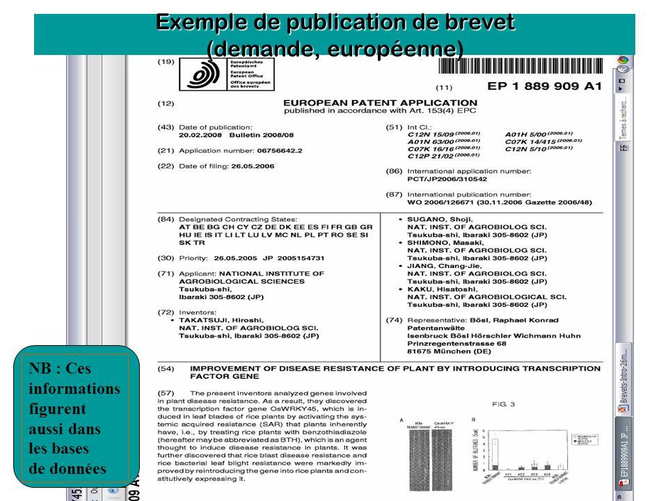 Exemple de publication de brevet (demande, européenne)