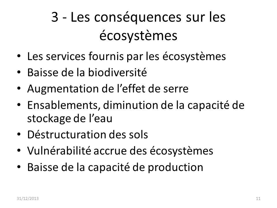 3 - Les conséquences sur les écosystèmes