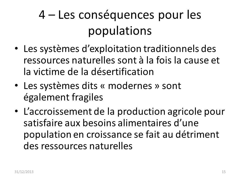 4 – Les conséquences pour les populations