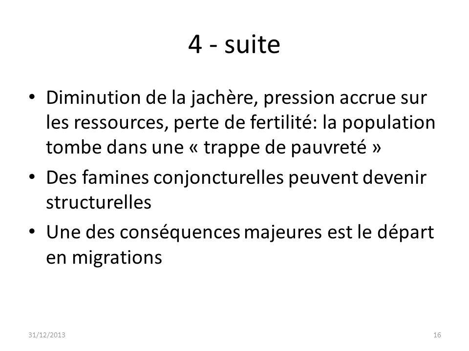4 - suite Diminution de la jachère, pression accrue sur les ressources, perte de fertilité: la population tombe dans une « trappe de pauvreté »