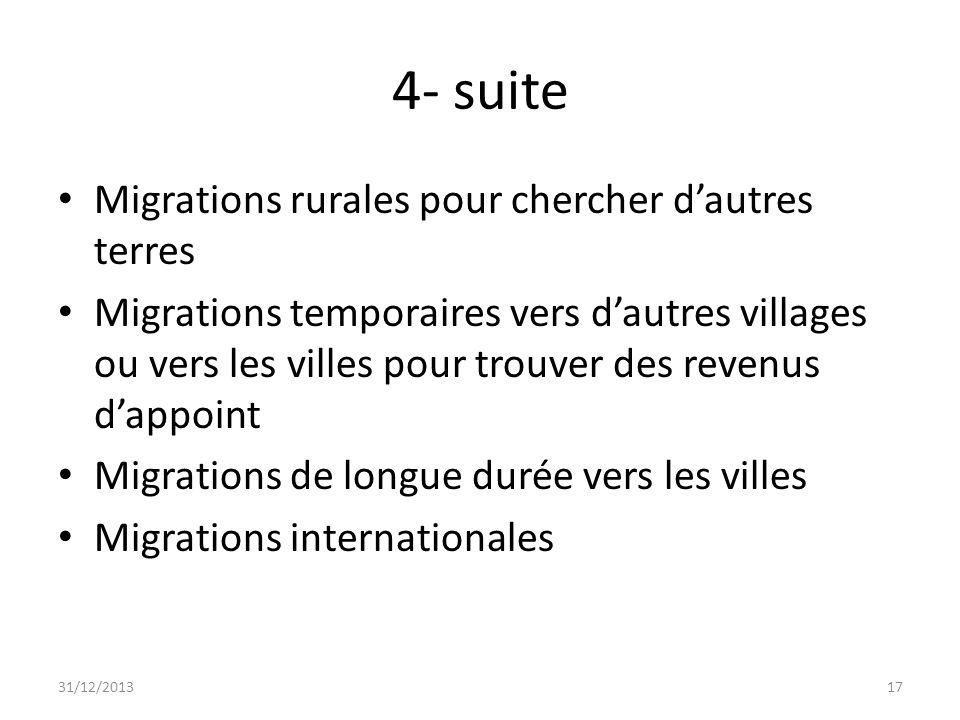 4- suite Migrations rurales pour chercher d'autres terres