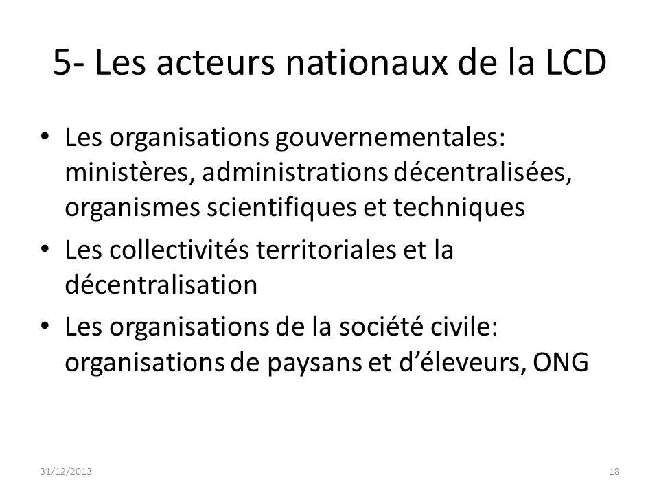 5- Les acteurs nationaux de la LCD