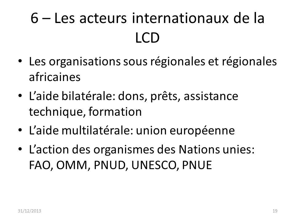 6 – Les acteurs internationaux de la LCD