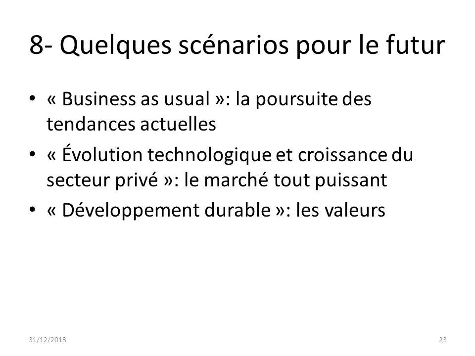 8- Quelques scénarios pour le futur