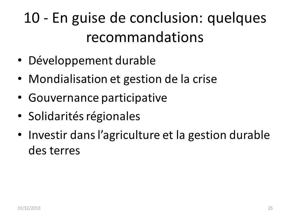 10 - En guise de conclusion: quelques recommandations