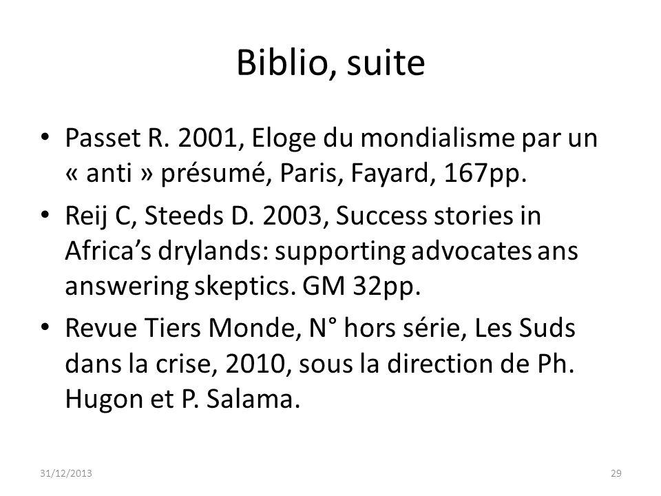 Biblio, suitePasset R. 2001, Eloge du mondialisme par un « anti » présumé, Paris, Fayard, 167pp.