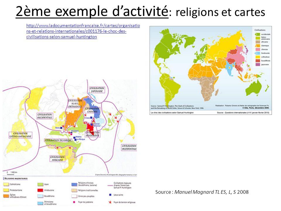 2ème exemple d'activité: religions et cartes