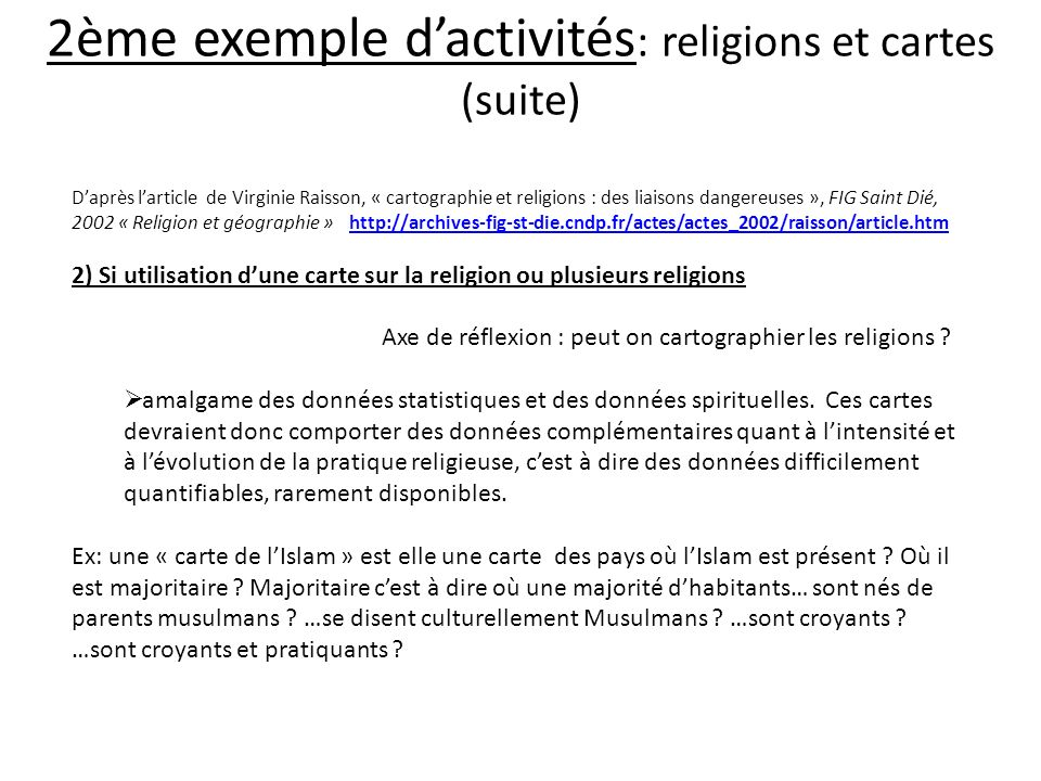 2ème exemple d'activités: religions et cartes (suite)