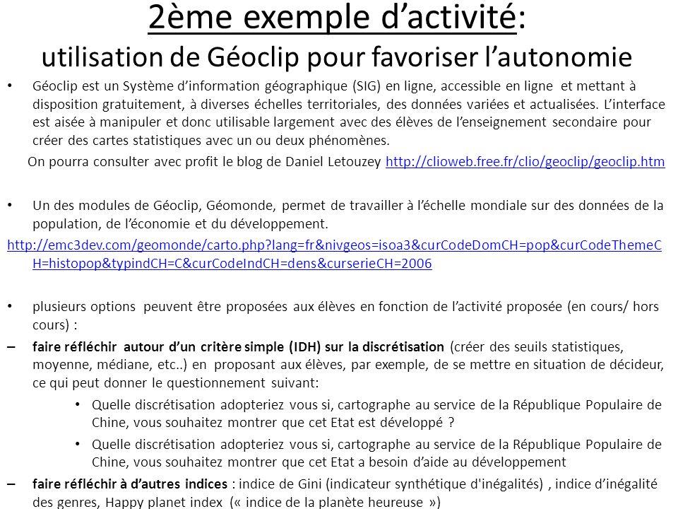 2ème exemple d'activité: utilisation de Géoclip pour favoriser l'autonomie