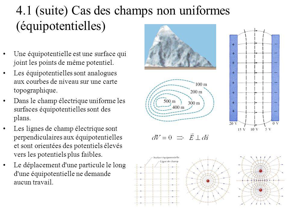 4.1 (suite) Cas des champs non uniformes (équipotentielles)