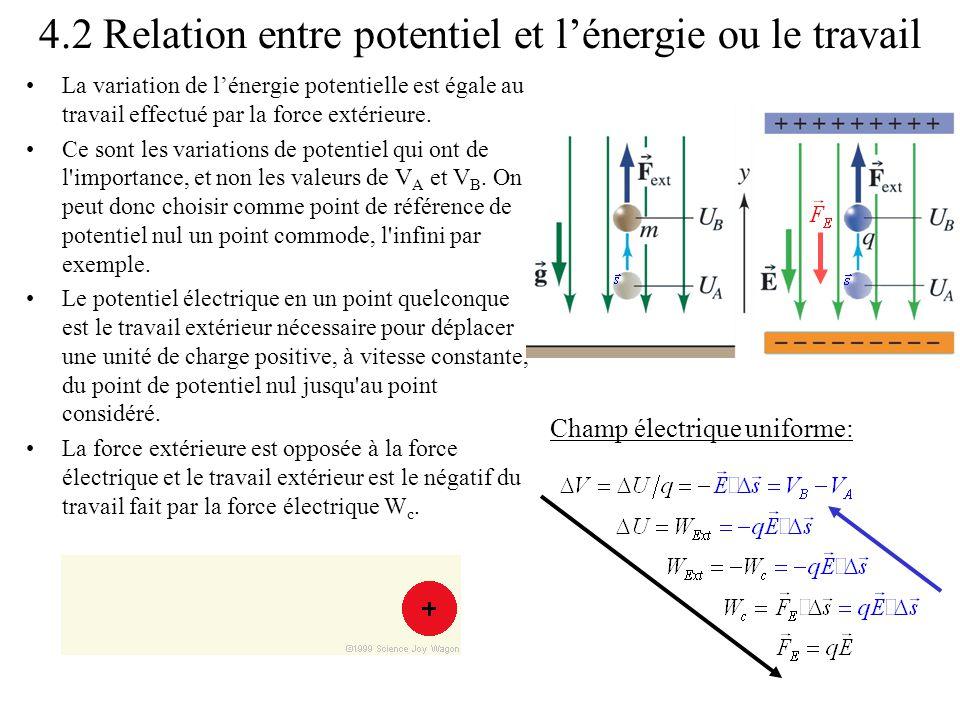 4.2 Relation entre potentiel et l'énergie ou le travail