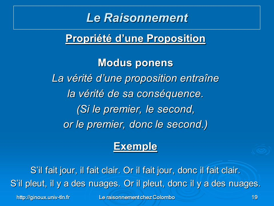 Propriété d'une Proposition