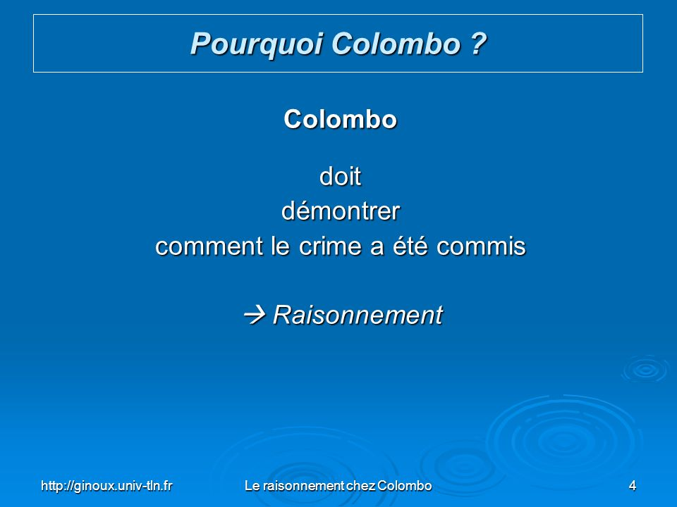 Pourquoi Colombo Colombo doit démontrer