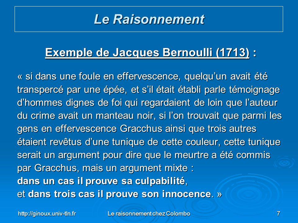 Exemple de Jacques Bernoulli (1713) :