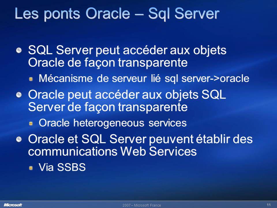 Les ponts Oracle – Sql Server